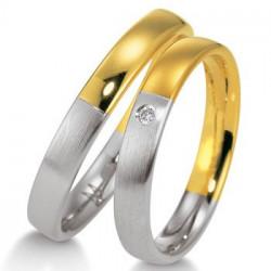 Alliance Breuning Or et Platine serti diamant - Boutique Alliance