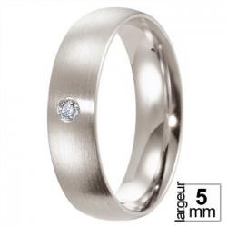 Alliance Breuning Platine demi-bombée avec diamant - Boutique Alliance