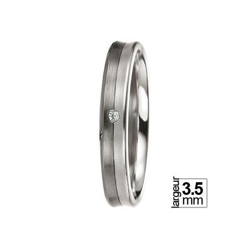 Alliance de mariage BREUNING Black & White et Diamant légèrement concave