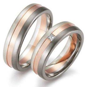 Les motifs lignes - Alliance de mariage Or rose...