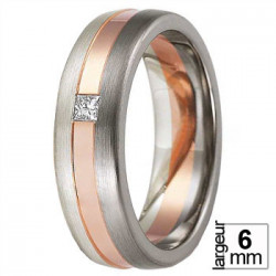 Alliance de mariage Or rose 375, Palladium & Diamant