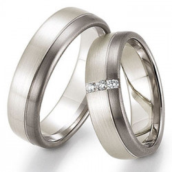 Alliance de mariage Or rose 375 & Palladium