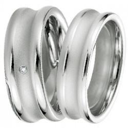 Alliance Breuning en argent incurvée et diamant - 13774159A