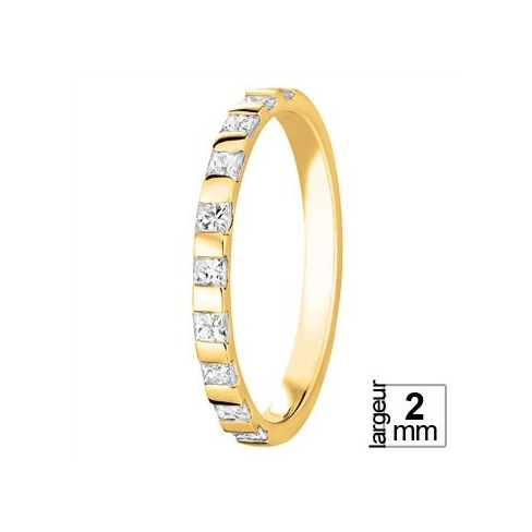 Alliance de mariage Or jaune et diamants taille princesse
