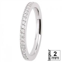Alliance de mariage Or blanc et diamants serti grain