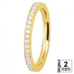 Alliance de mariage Or jaune serti 20 diamants - Boutique Alliance